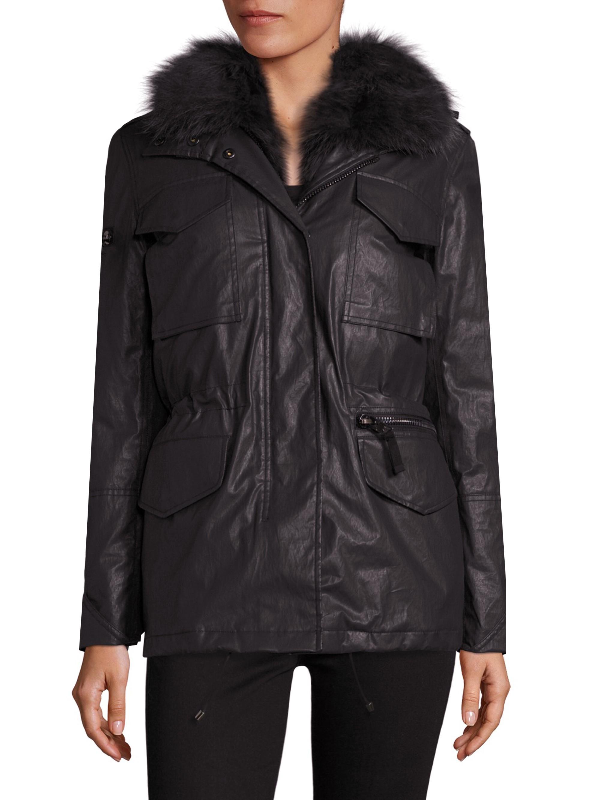 Sam. 2-In-1 Kate Coated Parka & Fox Fur Vest In Black