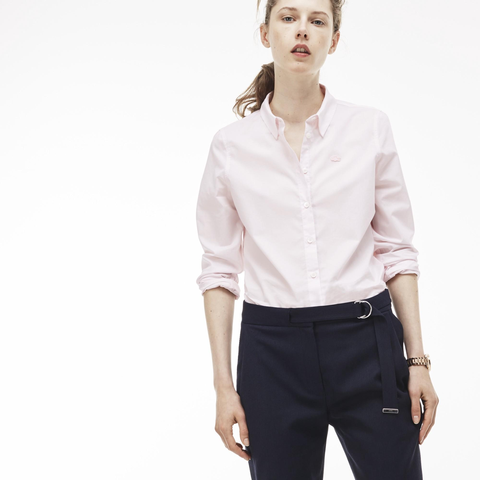 Lacoste Women's Regular Fit Cotton Poplin Shirt In Flamingo