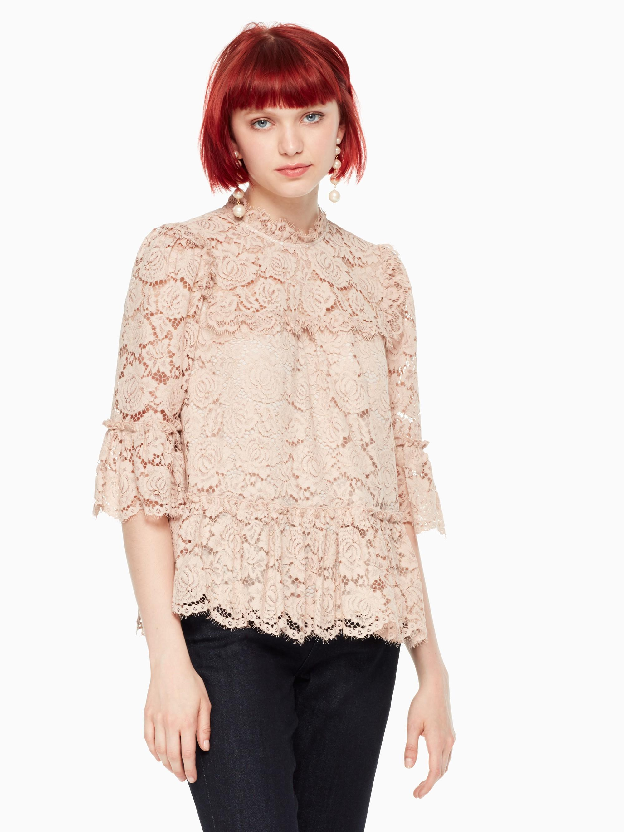 Kate Spade Poppy Lace Top In Amaretto