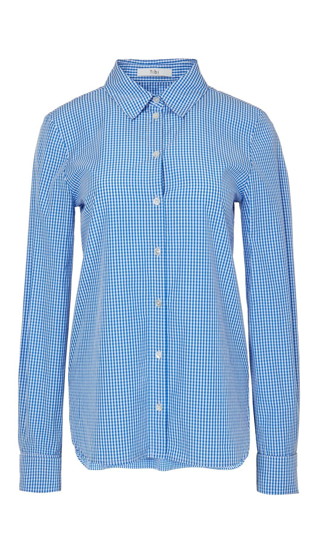 Tibi Slim-Fit Gingham Shirt, Blue/White In Blue Pattern