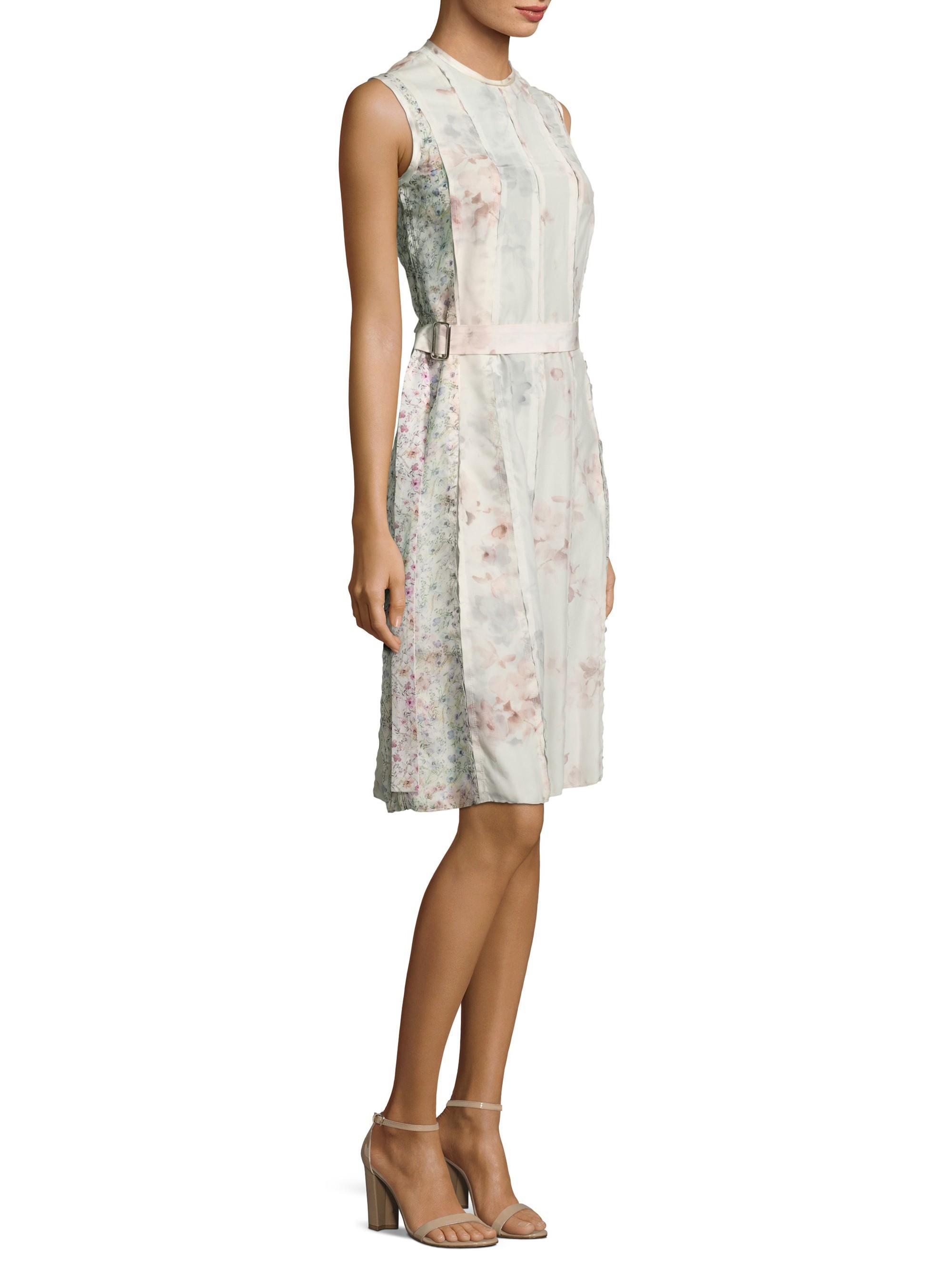 Calvin Klein Floral Silk Dress In Multi