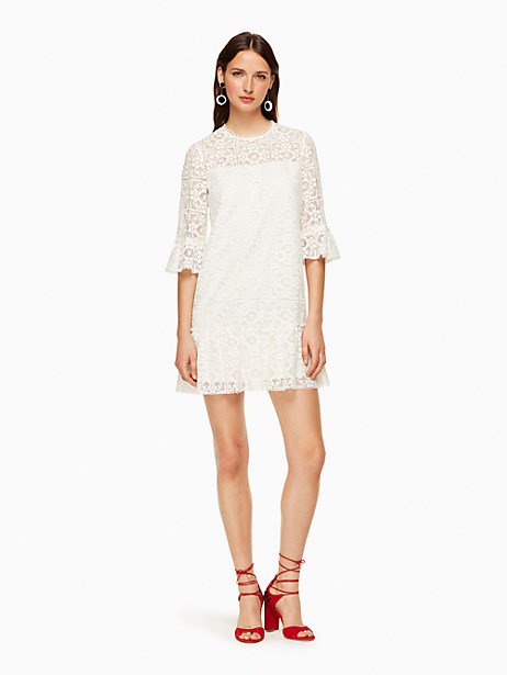 Kate Spade Lace Flounce Shift Dress In Fresh White