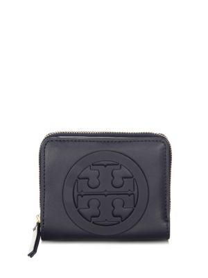 Tory Burch Charlie Mini Leather Bi-Fold Wallet In Tory Navy
