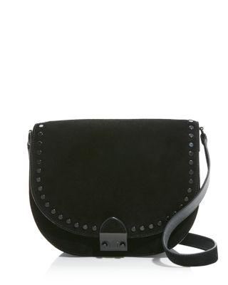 Loeffler Randall Large Suede Studded Saddle Bag - 100% Exclusive In Black