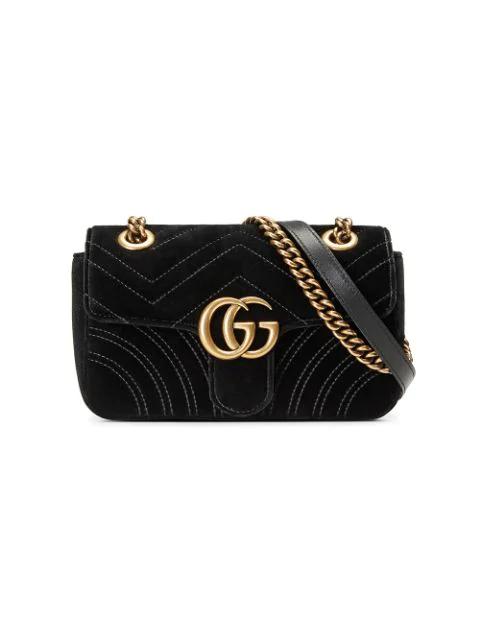 d24953ed4a92 Gucci Gg Marmont Mini Velvet Quilted Shoulder Bag In Black | ModeSens