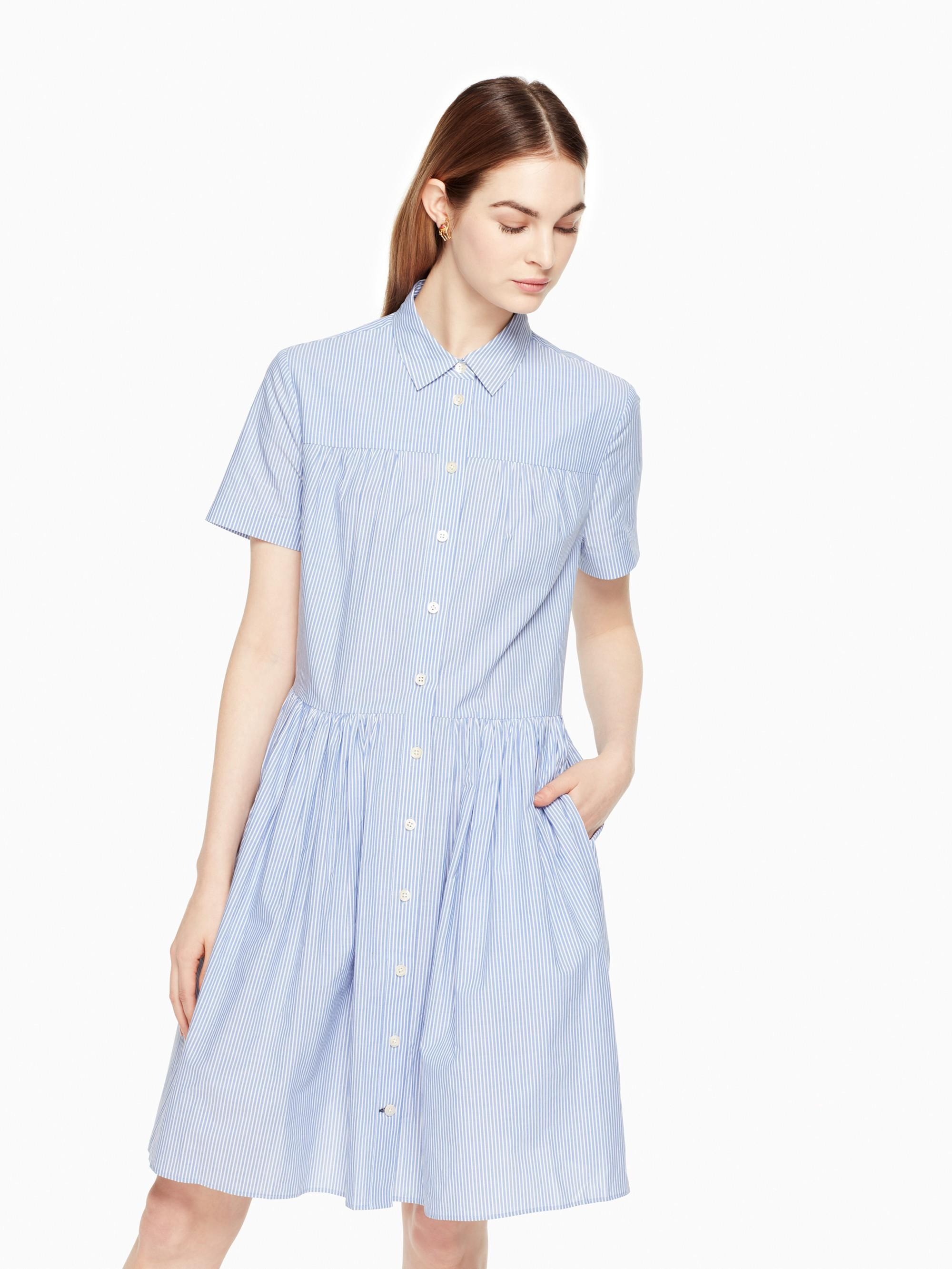 Kate Spade Broome Street Stripe Poplin Swing Shirtdress In Fresh White/Sound Blue