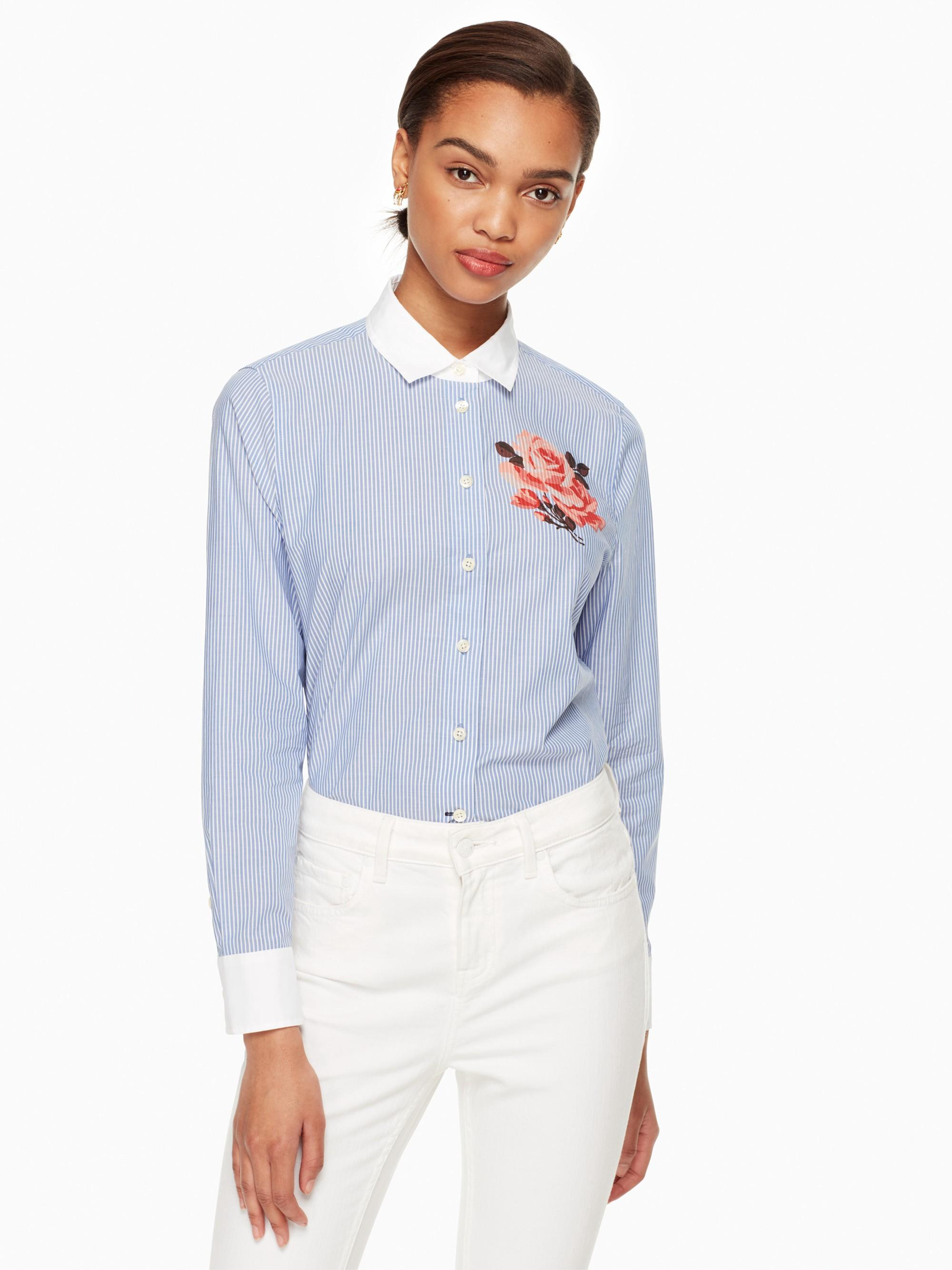 Kate Spade Tromp L'Oeil Rose Shirt In Fresh White/Sound Blue