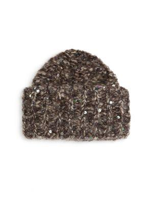 Brunello Cucinelli Mohair Macro Beanie In Charcoal Powder Silver