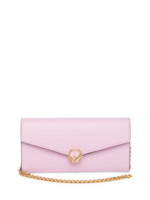 Fendi Leather Wallet-On-Chain In Peonia