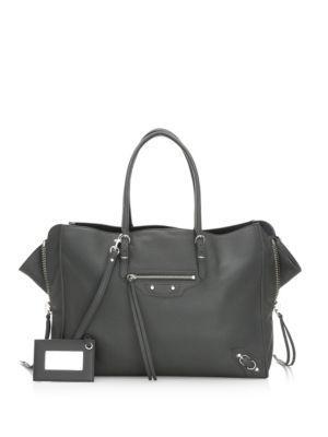 Balenciaga Papier Zip-Around B4 Leather Satchel In Gris Fossi
