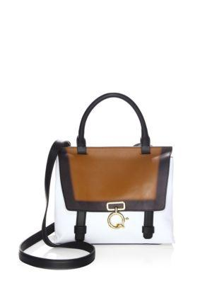 Derek Lam Leather Mini Bag In White Cognac Black