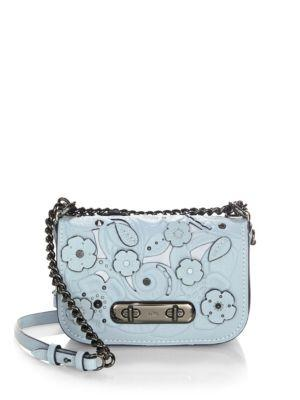 Coach Swagger 20 Tearose Leather Cross-Body Bag In Blue