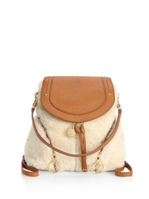 See By ChloÉ Olga Small Shearling And Textured-Leather Backpack In Caramel