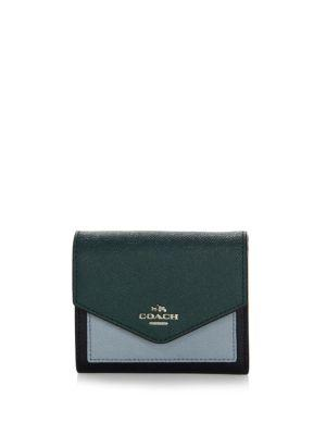 Coach Small Colorblock Leather Bifold Wallet In Navy