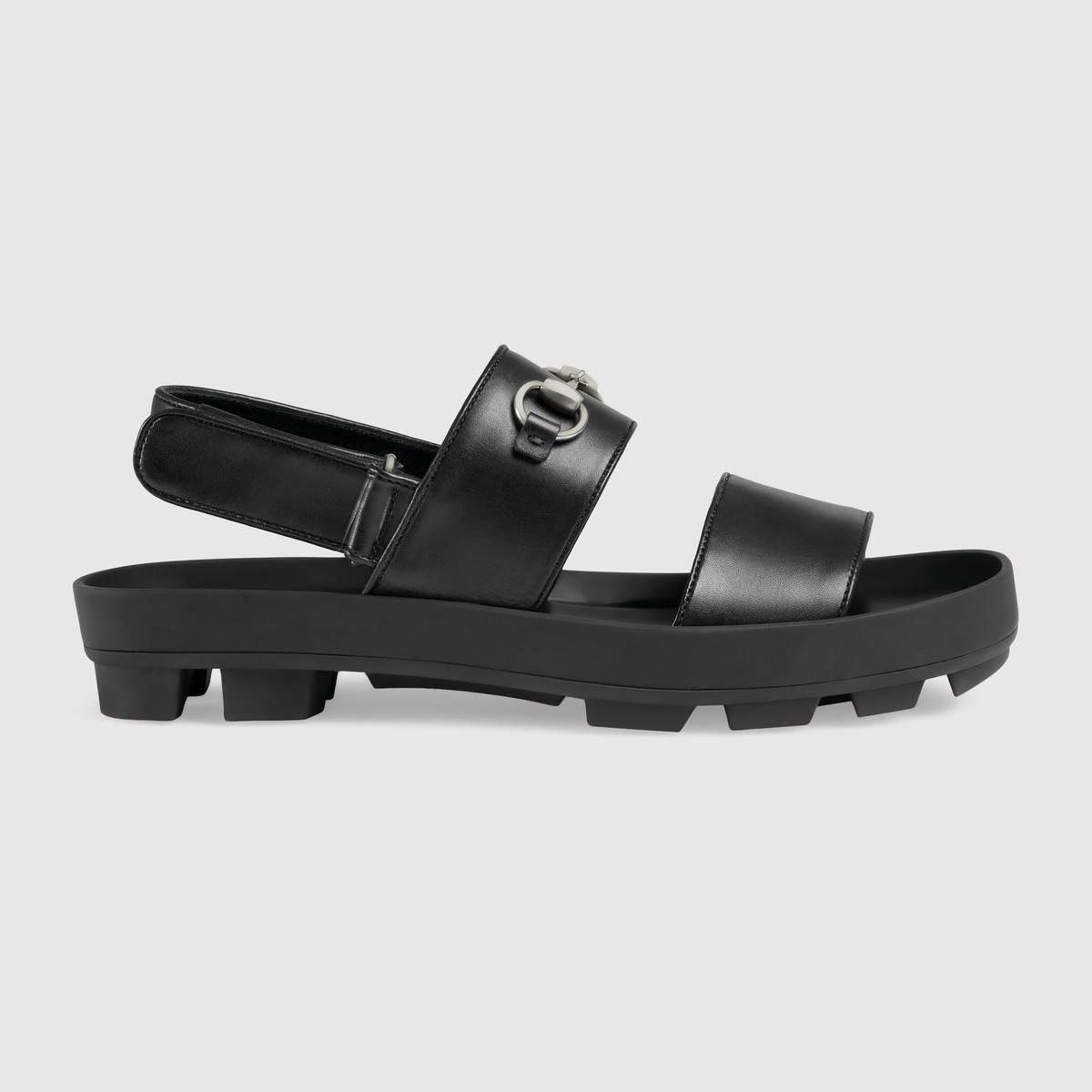 Gucci Black Leather Sandal
