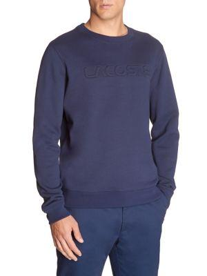 Lacoste Crewneck Cotton Sweater In Navy