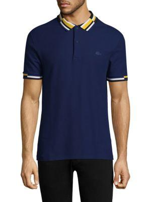 Lacoste Short-Sleeve Striped Cotton Polo In Methyl Blue