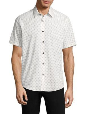 Theory Clean Cross Wool Button-Down Shirt In Ivory Multi