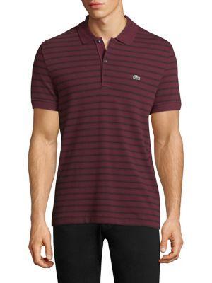 Lacoste Short-Sleeve Striped Cotton Polo In Vendan