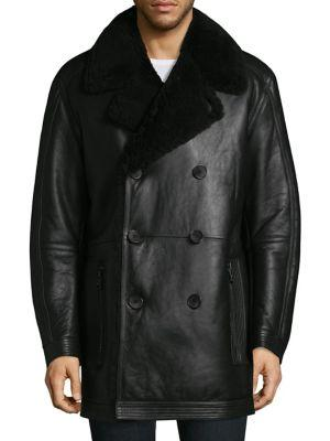 Andrew Marc Frontier Shearling Double-Breasted Jacket In Black
