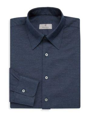 Canali Basic Cotton Dress Shirt In Navy