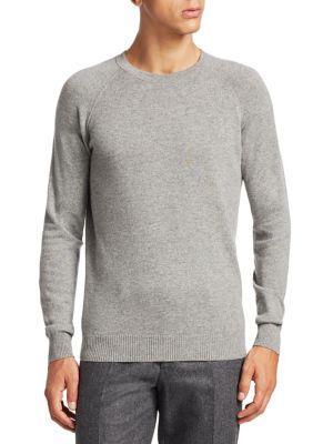 Loro Piana Cashmere Baseball Crewneck Sweater In Flannel Melange