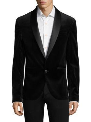Pierre Balmain Vented Velvet Blazer In Black