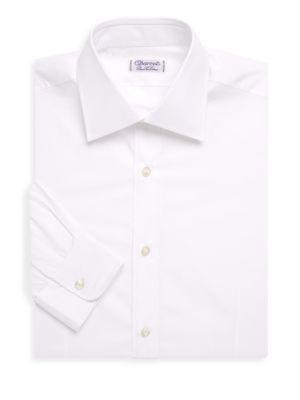 Charvet Slim Fit-Poplin Cotton Dress Shirt In White
