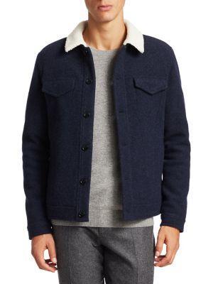 Loro Piana Felted Wool-Cashmere Trucker Jacket In Dark Blue