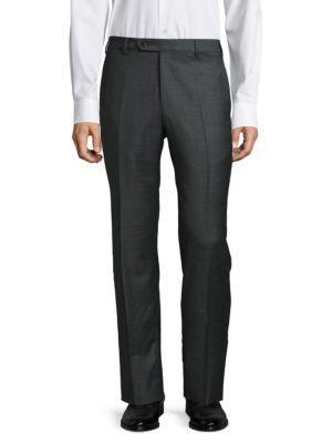 Zanella Devon Straight Wool Trousers In Grey