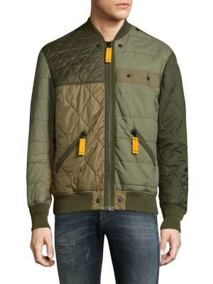 Diesel Watertow Quilted Bomber Jacket In Forest Night