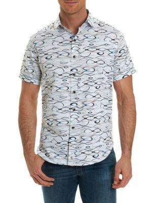 Robert Graham Illusions Printed Short Sleeve Button-Down Shirt In White