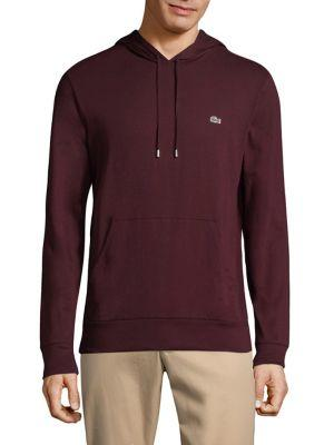 Lacoste Cotton Pullover Hoodie In Red Grape