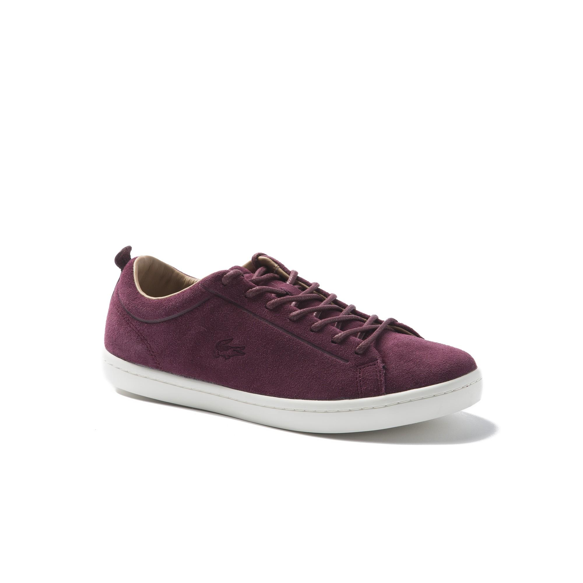 6fc4b5472 Lacoste Men s Straightset Suede Sneakers In Burgundy