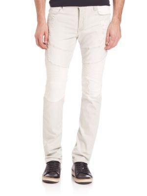 True Religion Rocco Two Tone Moto Pants In Cream