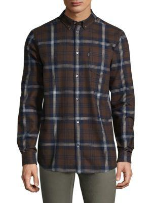 Wesc Vernon Plaid Regular-Fit Cotton Button-Down Shirt In Roasted Coffee