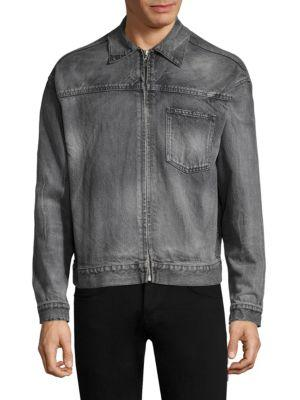 John Elliott Full Zip Denim Jacket In Black