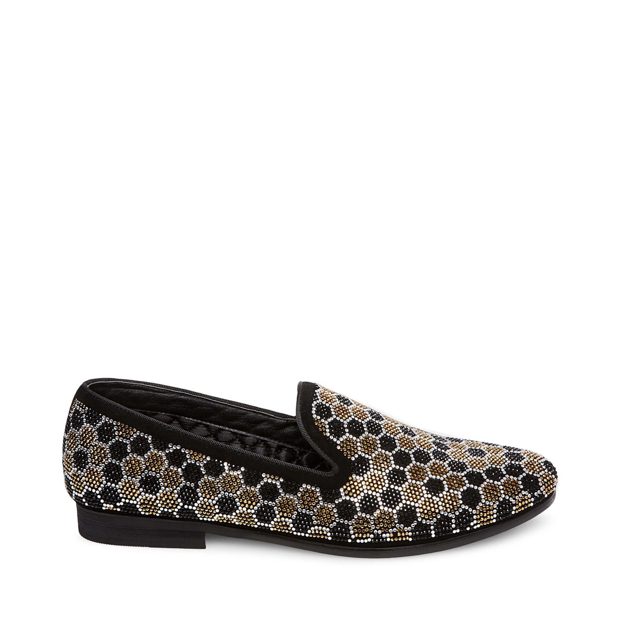 Steve Madden Caspian Studded Venetian Loafer In Black/ Gold