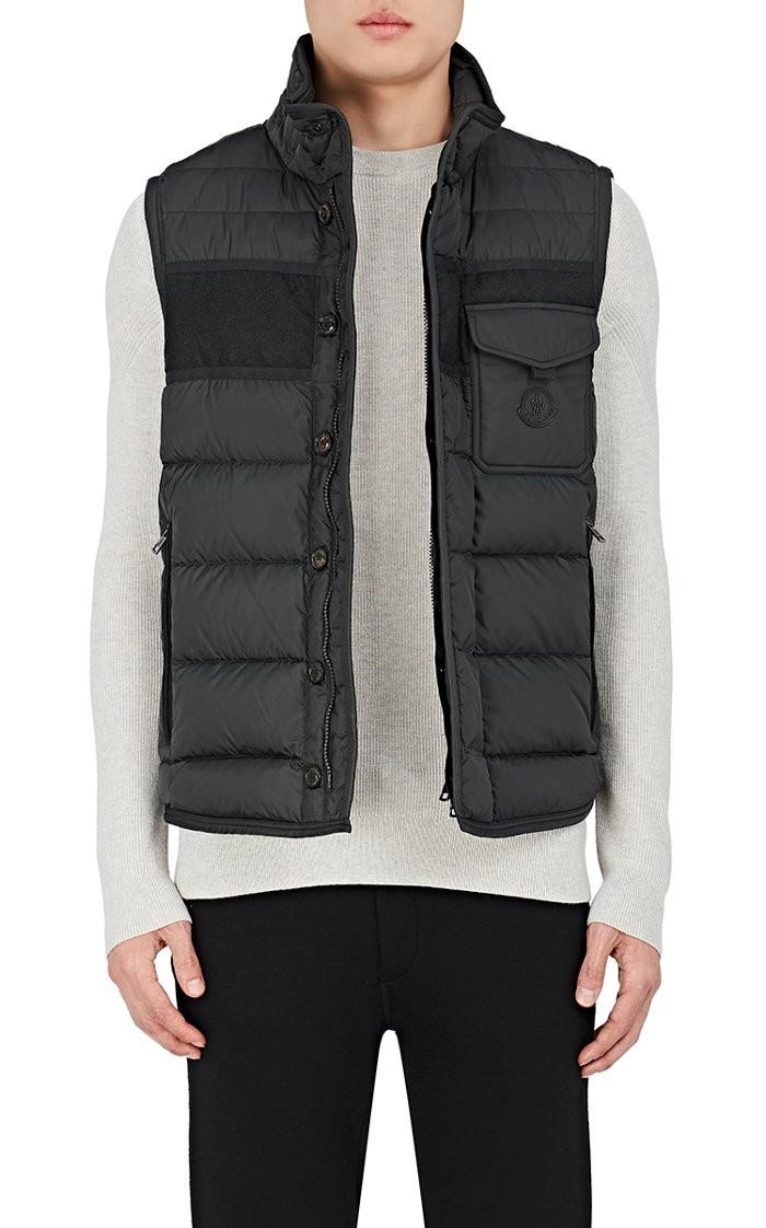 Moncler Athos Quilted Down Vest, Charcoal In Black