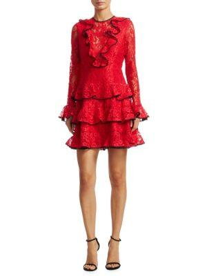 Alexis Tracie Ruffle Mini Dress In Red