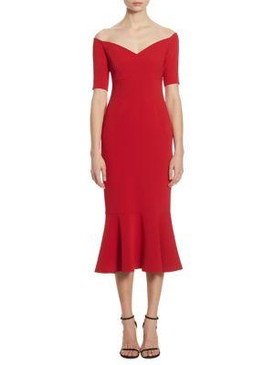 Cinq À Sept Marta Off-The-Shoulder Trumpet Dress In Red