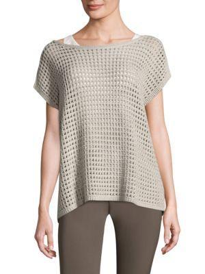 Lafayette 148 Open Stitch Cashmere Sweater In Oatmeal Metal