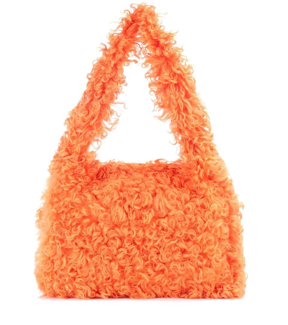 Miu Miu Shearling Shoulder Bag In Orange