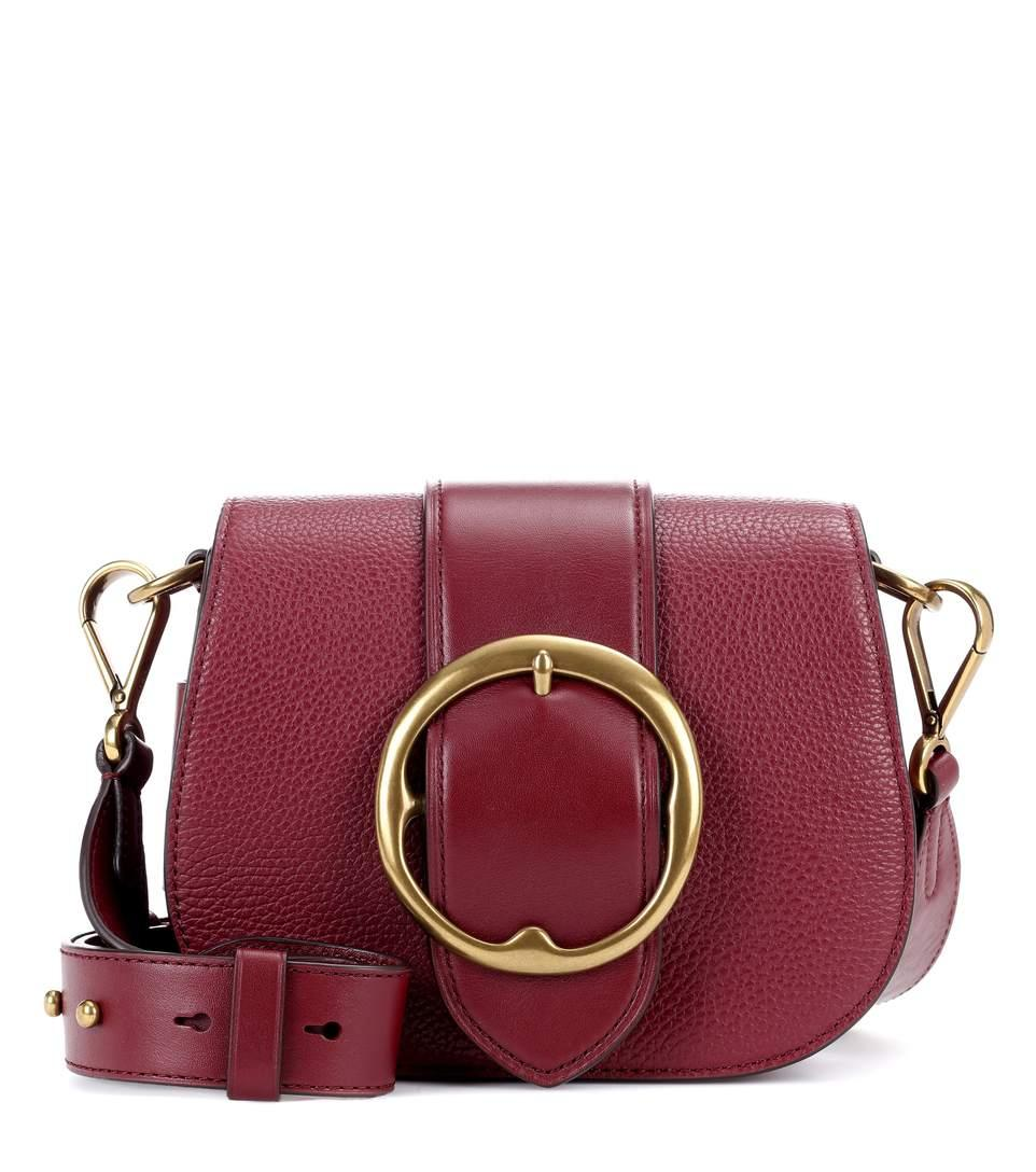 Polo Ralph Lauren Lennox Leather Shoulder Bag In Red