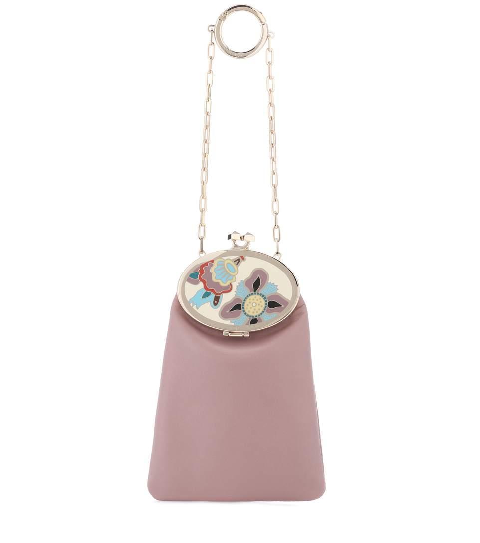 Valentino Soft Mirror Leather Clutch In Pink