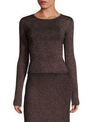 A.L.C Chance Metallic Crossback Sweater In Black Apricot