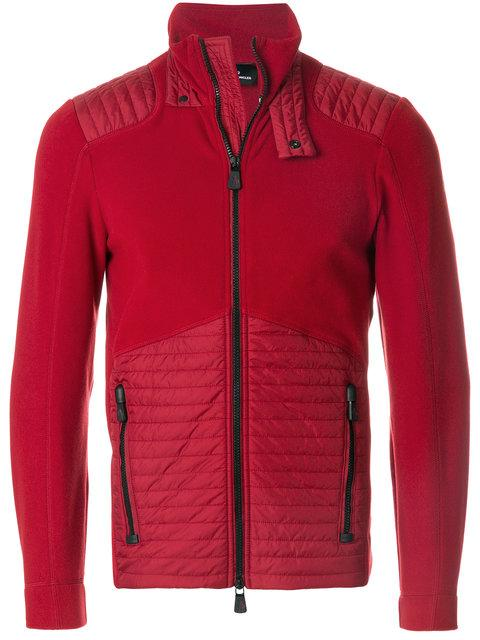 Moncler Grenoble Panelled Zipped Sweatshirt In Red