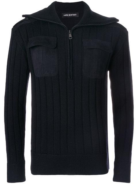 Neil Barrett Ribbed Zip Sweater