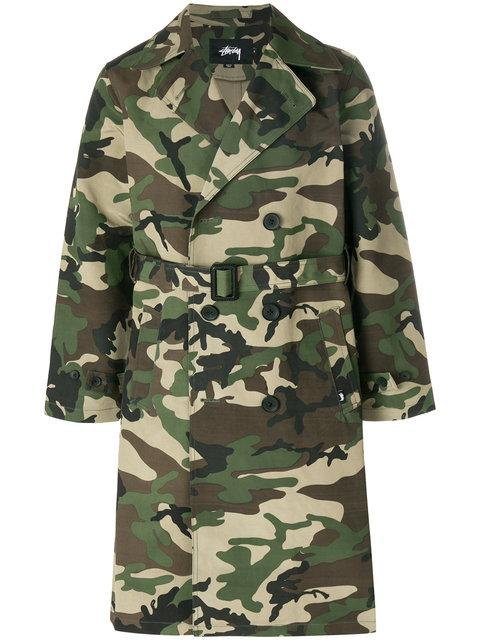 Stussy Double Breasted Trench Coat In Camouflage