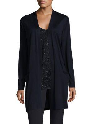 Lafayette 148 Chantilly Lace-Back Wool Open-Front Cardigan In Ink